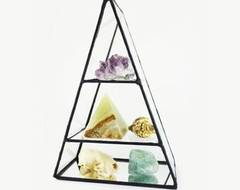 Stained Glass Triangle Trinket and Jewelry Display Shelf