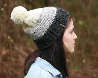 Knit slouchy ombre three-tone pom pom winter hat/ Charcoal grey, grey marble, and fisherman