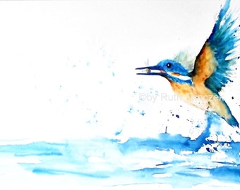 Paintings - original watercolor - Kingfisher - Kingfisher - 100 x 50 cm - stretcher - on wooden frame