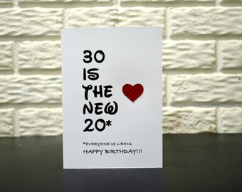 30 is the new 20* Birthday card, Humor 30th Birthday card, Funny 30th Birthday card, Sarcastic 30th Birthday Card