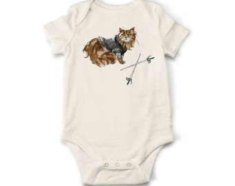 Cat Baby Onesie, Onesie, Organic Cotton Baby Onesie, Handmade Onesie, Baby Onesie