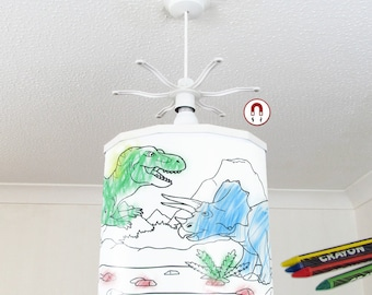 Colour in Dinosaurs Lampshade pendant Light Shade + Ereki Magnetic Set + Crayons Perfect for Kids, Children, toddlers