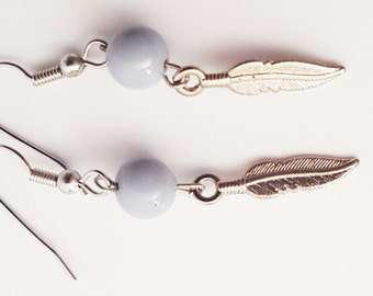Grey Feathered Earring