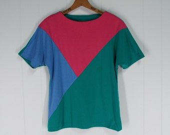 Vintage 1980s Bright Geometric Color Block Tee Shirt | Size S/M, M