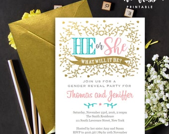 Gender Reveal Invitation | Boy or girl | He or She | 5x7 | Editable PDF File | Instant Download | Personalize at home with Adobe Reader