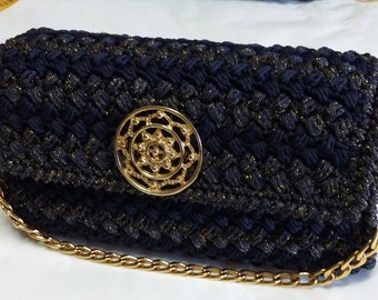 Blue crochet clutch