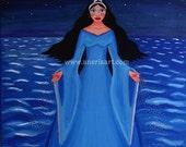 "Art Card, print, postcard Yemanja, Goddess of the Sea. size 4,5""x6,5"" (11,5 cm x16,5 cm)"