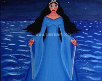 "Yemanja, Sea Goddess, art card, Mother water, goddess, moon goddess, pagan altar, Orisha, fertility, size 4,5""x6,5"" (11,5 cm x16,5 cm)"