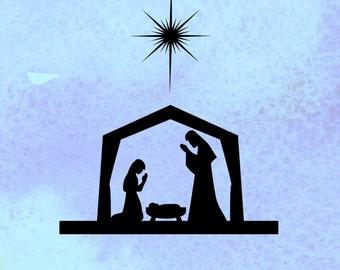 Nativity svg, Christmas svg,  design PDF, EPS,SVG files, cut file for silhouette, cricut, vinyl cutting files, Nativity scene svg,