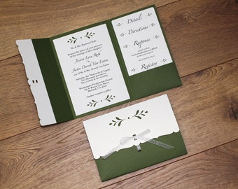 Wedding Invitation with Folder - Budding Leaves Collection - sample