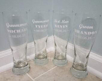 Wedding Beer Glasses, Groomsmen Beer Glasses, Groomsmen Gifts, Bachelor Party, Pilsner Glasses, Beer Glasses