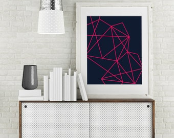 "Modern Wall Art, Line Art, Geo Print, Abstract Art, Geometric Art, Navy Art, Pink Art, Colorful Art, Bright Art Print, Fuscia, ""Pink Geo"""