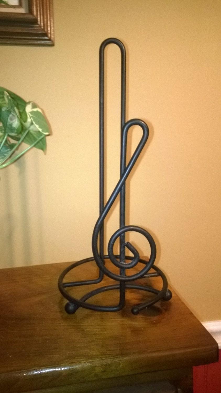 Paper Towel Holder Black Wrought Iron Music Symbol Treble