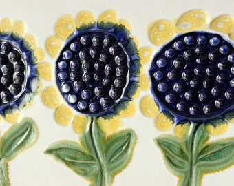 Vintage Bennington Sunflower Pottery Plaque, David Gil, Wall Art, Made in Vermont