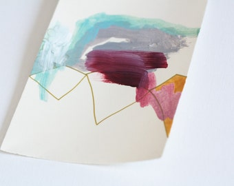 Small Abstract Painting on Paper with Mauve and Gold