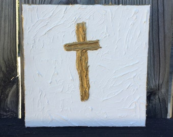 Gold and White Textured Cross on 8x8 Canvas