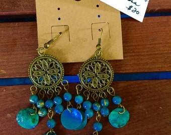 Indonesian chakra chandelier earrings