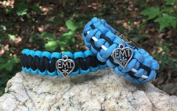 EMT Paracord Bracelet, EMT medical themed, charmed with the well known medical symbol