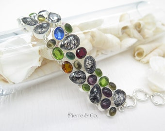 Tourmalated quartz Peridot sterling silver Bracelet