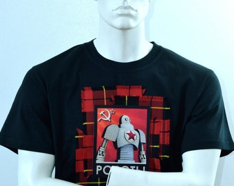 Iconic Retro T-shirt - Russian Soviet Robot CCCP Design - Mens Robot T-shirt - Space Race - Handmade in the Scotland