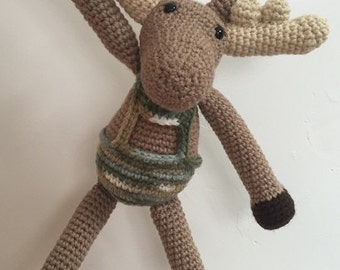 Enzo's moose stuffed animal, moose plush, moose plushie, crochet moose