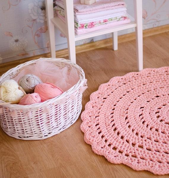 Items Similar To Salmon Pink Crochet Rug, Floor Mat
