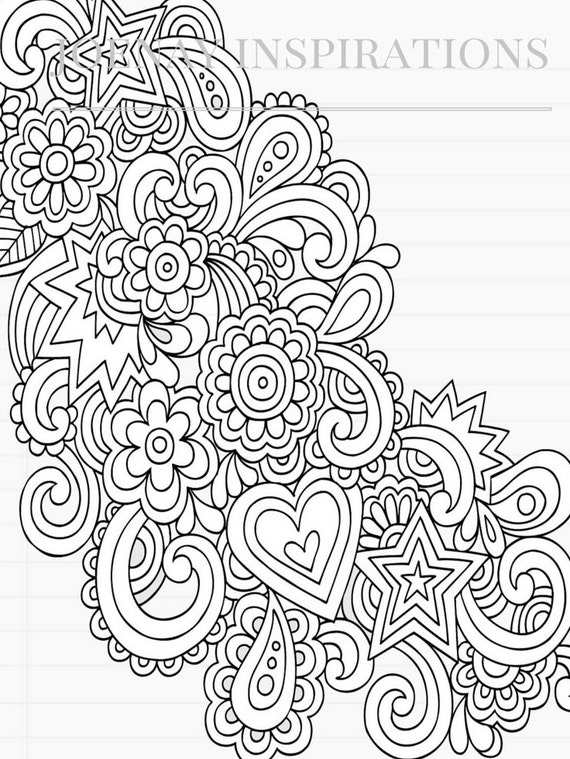 Adult Coloring Book, Printable Coloring Pages, Coloring Pages, Coloring Book for Adults, Instant Download, I love 70s 2 page 1