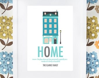 New Home print gift with definition personalised available framed or unframed