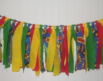 Super Hero Fabric Banner, Green, Red, Yellow, Highchair, Cake Smash, Birthday, Photo Shoot, Bunting, Rag Tie, Baby Shower, Back Drop