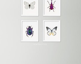 Set of 4 insect print - Mix of butterflies and beetles - Blue, aqua and teal prints - Gallery wall set - Modern gallery wall- Entomology art