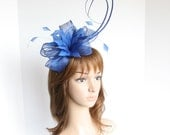 High Quality Kentucky Derby, Wedding, Tea Party Sinamay w Feathers, Two Quills  Headband Fascinator Cocktail ( Royal Blue )