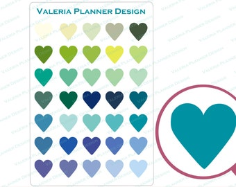 A0066 - Itty Bitty Green Hearts Planner Stickers, Hearts Stickers, Green stickers, Functional stickers