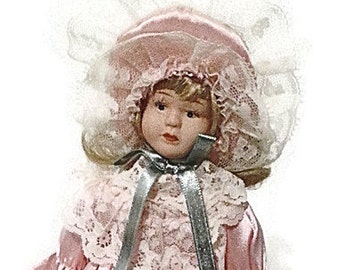 199o's Porcelain doll/ Gift for Valentine's day/vintage doll/Pink dress/lace/Collectibles/Home decor/Gift for her/Gift for Easter basket