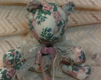 Stuffed animal 1989 Victorian Bear with Floral print fabric Bow with lace, ribbons and flower victorian home decor Easter Decor Easter Gift