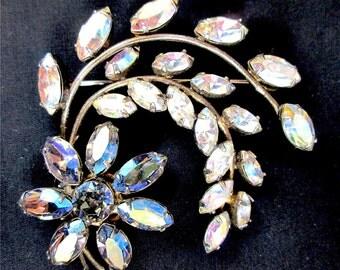 Vintage Signed JAY FLEX Sterling Floral Claw Set AB Navette Rhinestone Brooch Pin Flower Swirl Spray Flower 925 Daisy