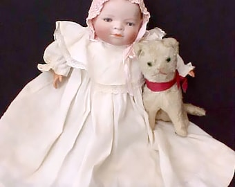 Beautiful Large Antique German Bye-Lo Baby Doll in Antique Clothing