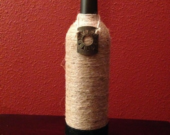 Wrapped wine bottle decor