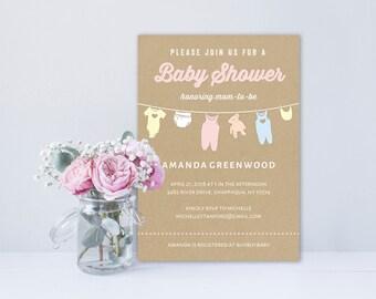 Baby Shower Invitation Template | Editable Invitation Printable | Baby Shower Invite Clothesline | No. PY 2103