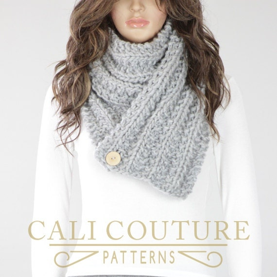 Knitting Pattern For Scarf With Buttonhole : Knit Scarf PATTERN Del Mar Button Scarf Pattern 20