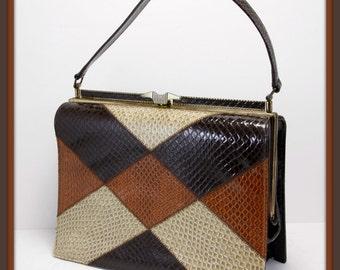 Vintage Naturalizer Handbag, Vintage Faux Lizard Handbag, Vintage Handbag, Vintage Naturalizer Purse,Vintage Faux Lizard Purse,Vintage Purse