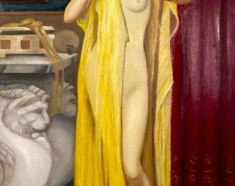 "Reproduction, ""Pyrrha after her bath"", John William Godward, oil on canvas, 100 x 50, 2016, tables wall decoration"