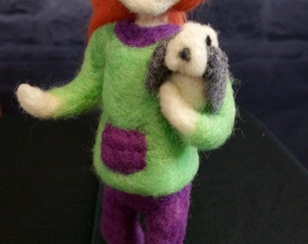 Needle Felted Doll with a Bunny