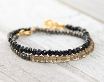 Black And Gold Bracelet - Delicate Beaded Bracelet - Golden Gemstone Bracelet - Yoga Bracelet - Yoga Jewelry - Gemstone Bracelet - Namaste
