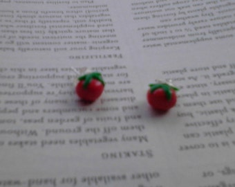 tomato stud earrings
