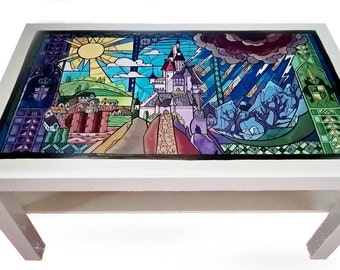 Beauty and the beast table (stained glass window)