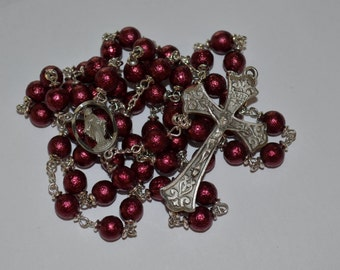 Rosary, Burgundy Ice Pearl Rosary, with Pewter Medals