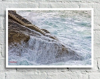 Fine Art Print, Saltwater Stairway to a Turbulent Aqua Sea, San Sebastian, Spain