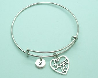Sweet 16 charm bangle bracelet, 16th birthday personalised initial bangle, letter, personalised charm, sweet 16 bangle, gift, for her