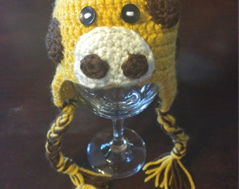 Crochet giraffe hat and booties