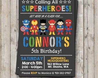 Superhero birthday invitation personalized for your party - digital / printable DIY superhero invitation